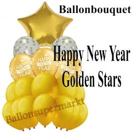 Silvester-Ballon-Bouquet Happy New Year Golden Stars mit 18 Luftballons