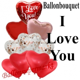 Ballon-Bouquet I Love You Rose Gold Hearts mit 10 Luftballons
