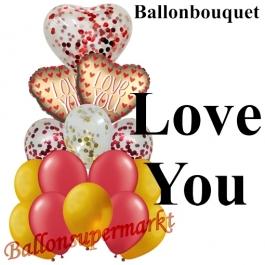 Ballon-Bouquet Love You Satin Gold mit 15 Luftballons