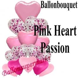 Ballon-Bouquet Pink Heart Passion mit 15 Luftballons