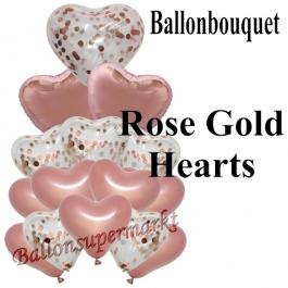 Ballon-Bouquet Rose Gold Hearts mit 10 Luftballons