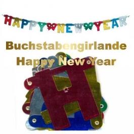 Happy New Year Buchstabengirlande, silber, gold, blau, rot
