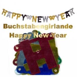 Silvester Buchstabengirlande Happy New Year, silber, schwarz, gold