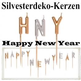 Zierkerzen-Set Dekoration Silvester, Happy New Year, Silvesterparty Illumination