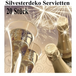 Silvesterdeko Servietten, Cheers New Year, Sektgläser, 20 Stück, 33x33 cm, 3-lagig