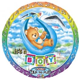 Singender Ballon It's a Boy zur Geburt eines Jungen, Luftballon aus Folie mit Musik