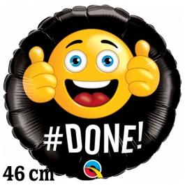 Smiley #DONE!, Luftballon aus Folie zur bestandenen Prüfung, zu Abitur und Examen