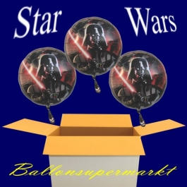 Kindergeburtstag mit Star Wars Luftballons, 3 Folienballons mit Ballongas-Helium