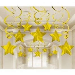 Swirls Deko-Wirbler Sterne gold