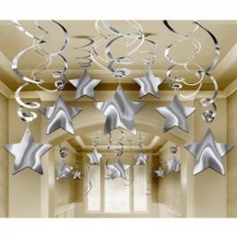 Swirls Deko-Wirbler Sterne silber