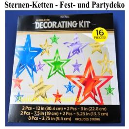 Metallisch glänzende Sternenketten, Dekorationshänger, Party- und Festdekoration