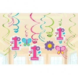 Swirl Dekoration zum 1. Geburtstag, Maedchen, Sweet Birthday Girl