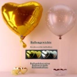 Ballongewicht Herzen Gold 10 Stück