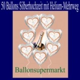 50 Ballons aus Folie, Silberhochzeit, mit dem Helium-Mehrweg-Behälter