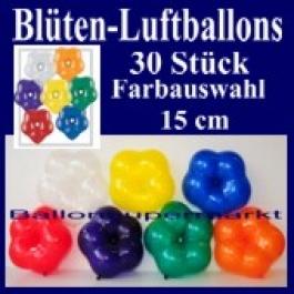 Blüten-Luftballons, 30 Stück, bunt gemischt, 15 cm