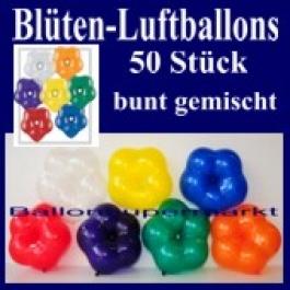 Blüten-Luftballons, 50 Stück, bunt-gemischt, 15 cm