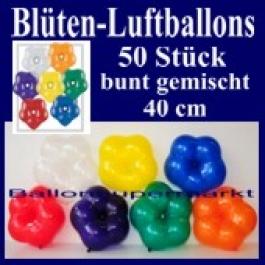 Blüten-Luftballons, 50 Stück, bunt-gemischt, 40 cm