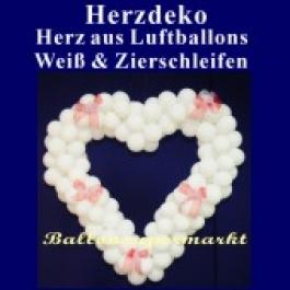 Dekoration zur Hochzeit, Herzdekoration aus Luftballons in Weiß mit Schleifen