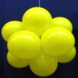 Ballonkugel mit Luftballons, Latex 30cm Ø, 150 Stück / Gelb