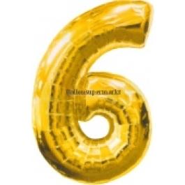 "Folienballondeko ""6"" (heliumgefüllt)"