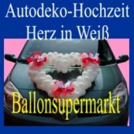 Autodeko Hochzeit, Dekoration Herzen aus Mini-Luftballons in Weiß
