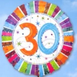 Folienballon Geburtstag 30., Birthday Prismatic (heliumgefüllt)