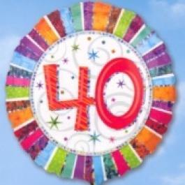 Folienballon Geburtstag 40., Birthday Prismatic (heliumgefüllt)