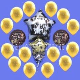 Silvester-Bouquet mit 12 Latexballons u. 2 Folienballons, 2,2 Liter Helium-Einweg