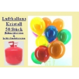 Helium- Einwegbehälter mit 50 Luftballons Kristall