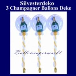 Silvesterballons, Ballondeko-Bubbles, Sekt-Champagner, 3 Stück