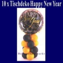 Tischdeko Luftballons aus Folie, Happy New Year, 10 Stück