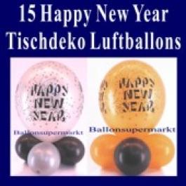 Tischdeko Luftballons Happy New Year, 15 Stück