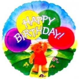 Happy Birthday Balloon Bear Luftballon mit Helium-Ballongas