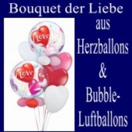Bouquet der Liebe aus Herzluftballon und Bubble Luftballons (mit Helium)