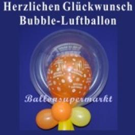Herzlichen Glückwunsch, Bubble Luftballon (mit Helium)