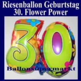 Luftballon zum 30. Geburtstag, Flower Power, Folienballon mit Ballongas