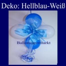 Mini-Luftballons-Dekoration mit Ringelband und Zierschleife, Weiß-Hellblau