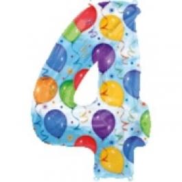 """Luftballons: Folienballondeko Balloons """"4"""" (ohne Helium)"""