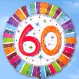 Folienballon Geburtstag 60.,Birthday Prismatic (ohne Helium)