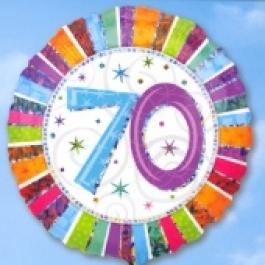 Folienballon Geburtstag 70.,Birthday Prismatic (ohne Helium)