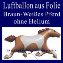 Braun-Weißes Pferd, Luftballon aus Folie, ohne Ballongas