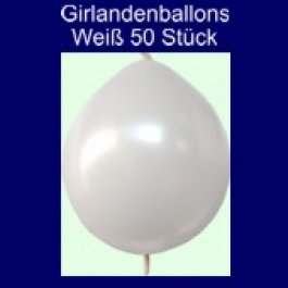 Kettenballons-Girlandenballons-Weiß-Metallic, 50 Stück