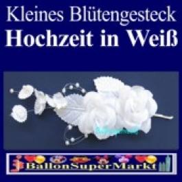 Kleines Blütengesteck-Hochzeitsdeko in Weiß