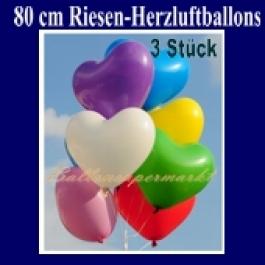 Riesenballons, Herzluftballons 3 Stück