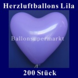 Herzluftballons Lila 200 Stück