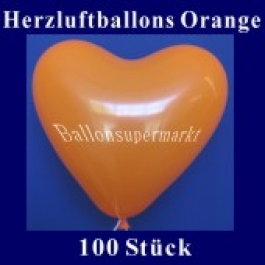 Herzluftballons Orange 100 Stück