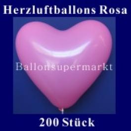 Herzluftballons Rosa 200 Stück