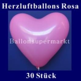 Herzluftballons Rosa 30 Stück