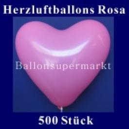 Herzluftballons Rosa 500 Stück