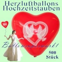 Herzluftballons mit Hochzeitstauben, 500 Stück